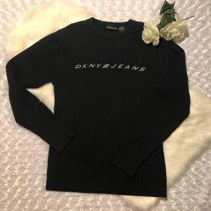 DKNY Jeans Black Sweater Sz Medium